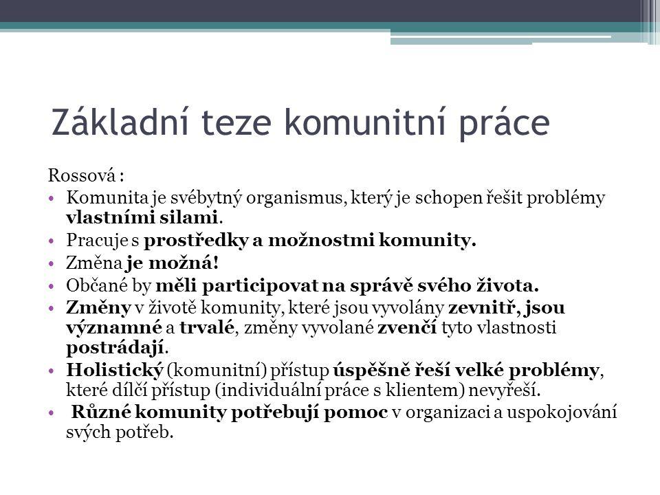 Základní teze komunitní práce Rossová : Komunita je svébytný organismus, který je schopen řešit problémy vlastními silami. Pracuje s prostředky a možn