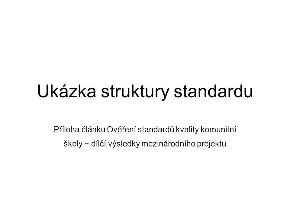 Ukázka struktury standardu Příloha článku Ověření standardů kvality komunitní školy − dílčí výsledky mezinárodního projektu
