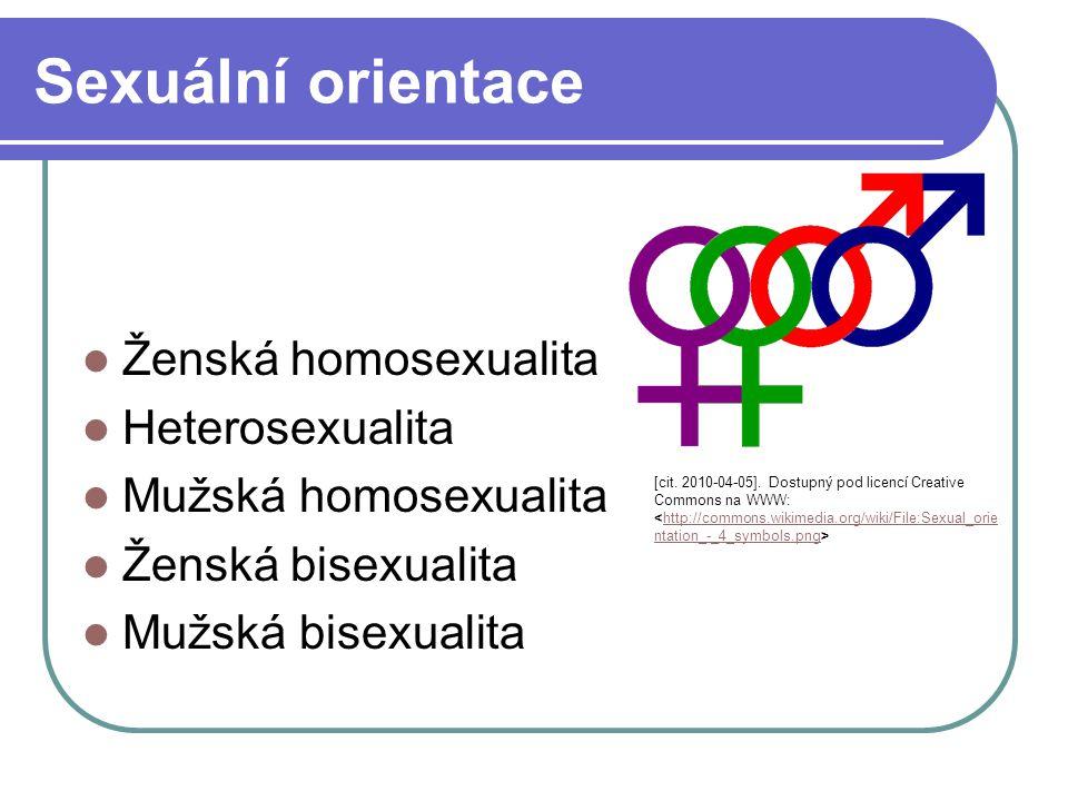 Sexuální orientace Označuje trvalou sexuální náklonnost Vztahuje se k osobní identitě – chování, členství v komunitě Označována ve 3 kategoriích  Heterosexuální – náklonnost k opačnému pohlaví  Homosexuální – náklonnost k stejnému pohlaví  Bisexuální – náklonnost k mužům i ženám