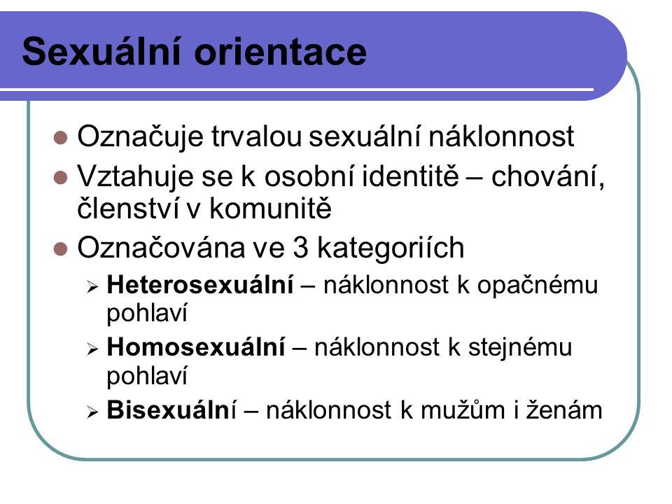 Sexuální orientace Označuje trvalou sexuální náklonnost Vztahuje se k osobní identitě – chování, členství v komunitě Označována ve 3 kategoriích  Het