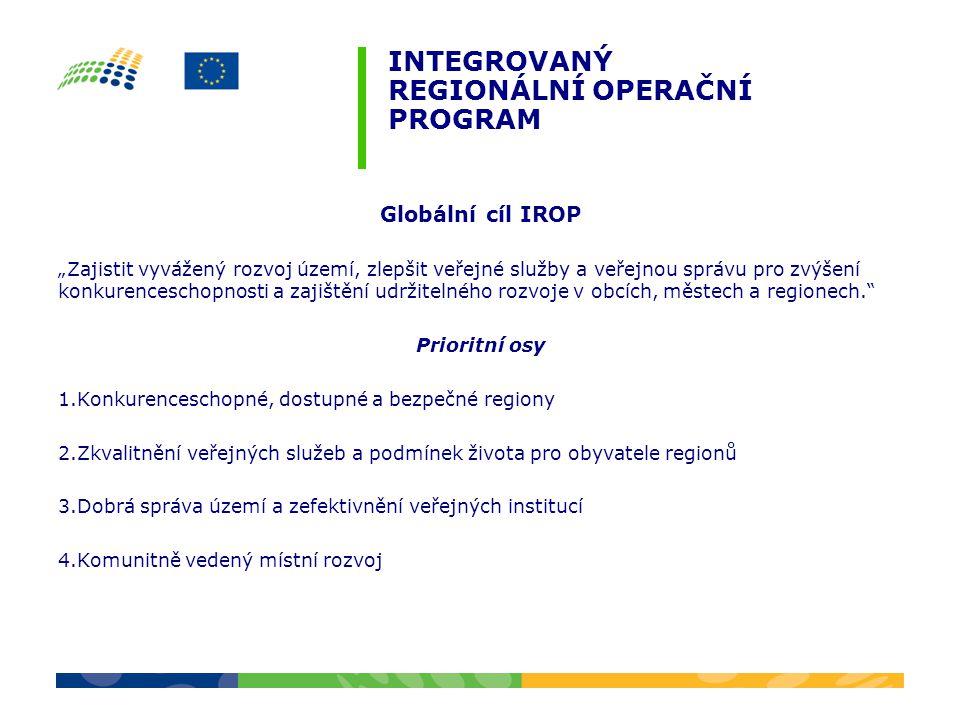 """INTEGROVANÝ REGIONÁLNÍ OPERAČNÍ PROGRAM Globální cíl IROP """"Zajistit vyvážený rozvoj území, zlepšit veřejné služby a veřejnou správu pro zvýšení konkur"""