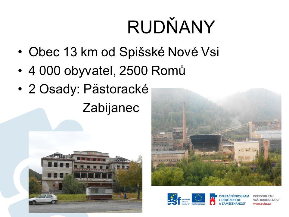 RUDŇANY Obec 13 km od Spišské Nové Vsi 4 000 obyvatel, 2500 Romů 2 Osady: Pästoracké Zabijanec