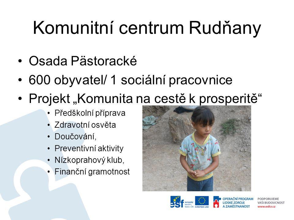 """Komunitní centrum Rudňany Osada Pästoracké 600 obyvatel/ 1 sociální pracovnice Projekt """"Komunita na cestě k prosperitě"""" Předškolní příprava Zdravotní"""