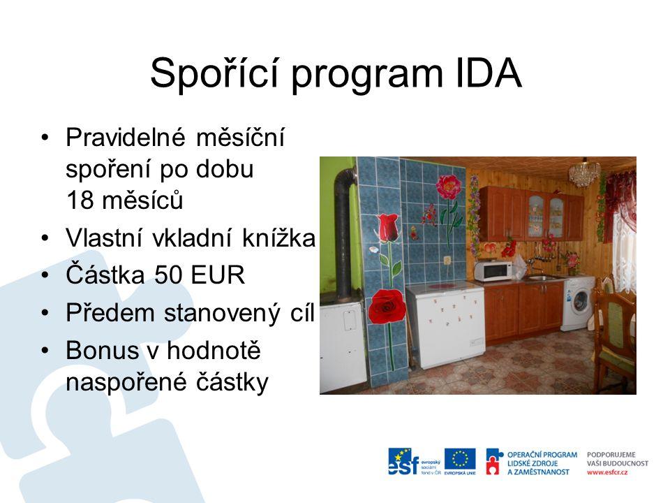 Spořící program IDA Pravidelné měsíční spoření po dobu 18 měsíců Vlastní vkladní knížka Částka 50 EUR Předem stanovený cíl Bonus v hodnotě naspořené částky