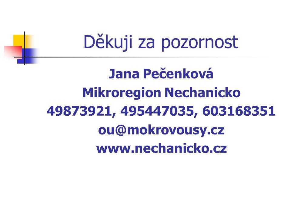 Děkuji za pozornost Jana Pečenková Mikroregion Nechanicko 49873921, 495447035, 603168351 ou@mokrovousy.cz www.nechanicko.cz