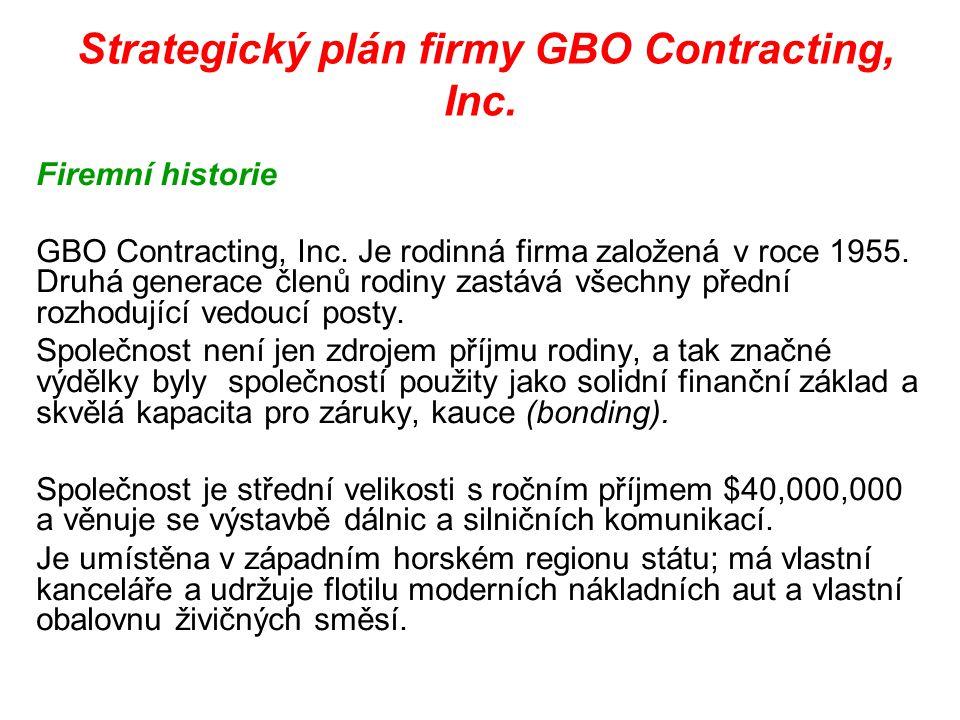 Strategický plán firmy GBO Contracting, Inc. Firemní historie GBO Contracting, Inc. Je rodinná firma založená v roce 1955. Druhá generace členů rodiny