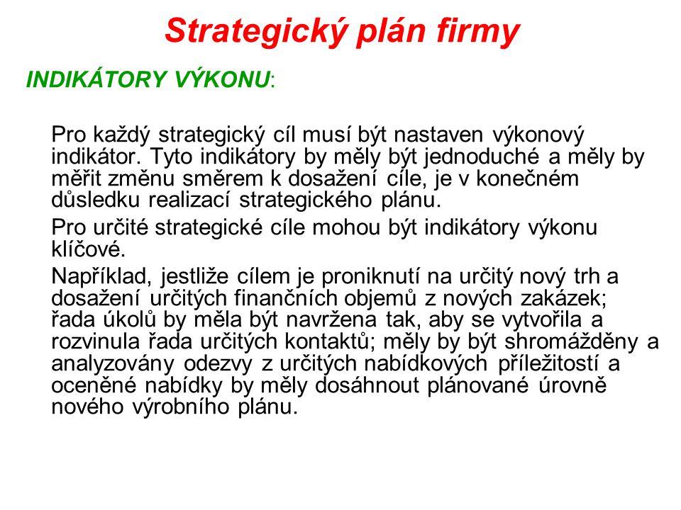 Strategický plán firmy INDIKÁTORY VÝKONU: Pro každý strategický cíl musí být nastaven výkonový indikátor. Tyto indikátory by měly být jednoduché a měl