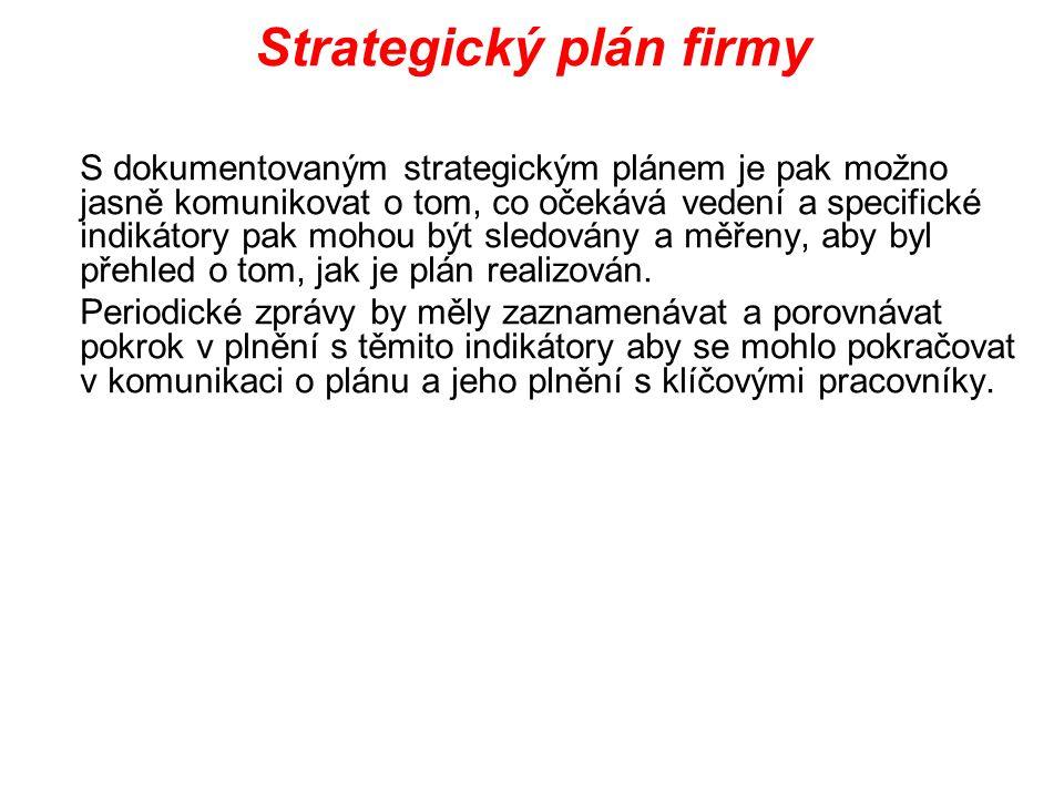 Strategický plán firmy S dokumentovaným strategickým plánem je pak možno jasně komunikovat o tom, co očekává vedení a specifické indikátory pak mohou