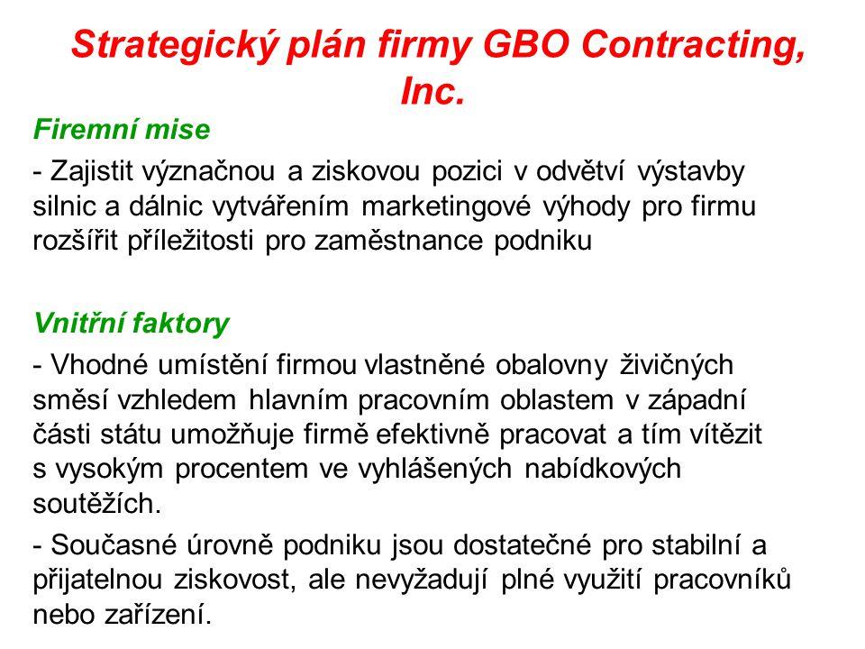 Strategický plán firmy GBO Contracting, Inc. Firemní mise - Zajistit význačnou a ziskovou pozici v odvětví výstavby silnic a dálnic vytvářením marketi