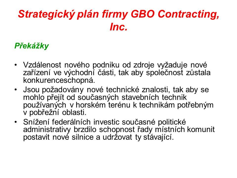 Strategický plán firmy GBO Contracting, Inc. Překážky Vzdálenost nového podniku od zdroje vyžaduje nové zařízení ve východní části, tak aby společnost