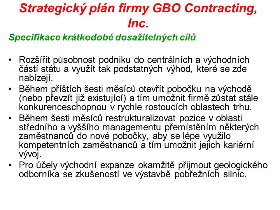 Strategický plán firmy GBO Contracting, Inc. Specifikace krátkodobé dosažitelných cílů Rozšířit působnost podniku do centrálních a východních částí st
