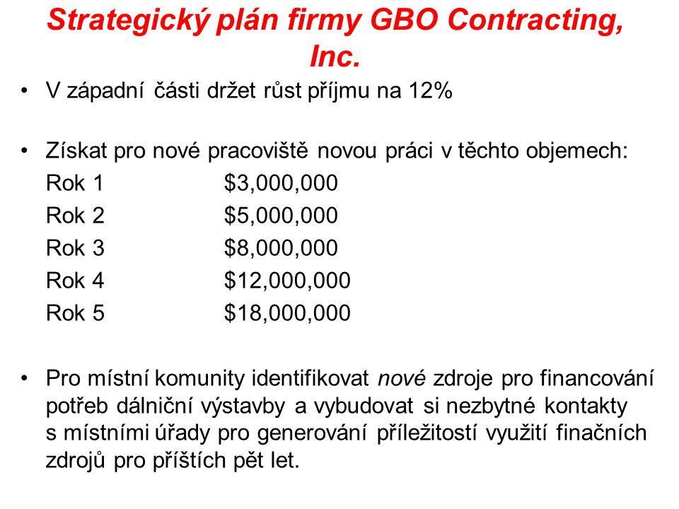 Strategický plán firmy GBO Contracting, Inc. V západní části držet růst příjmu na 12% Získat pro nové pracoviště novou práci v těchto objemech: Rok 1$