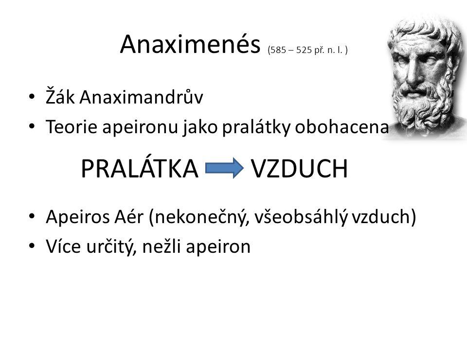 Anaximenés (585 – 525 př. n. l. ) Žák Anaximandrův Teorie apeironu jako pralátky obohacena Apeiros Aér (nekonečný, všeobsáhlý vzduch) Více určitý, než