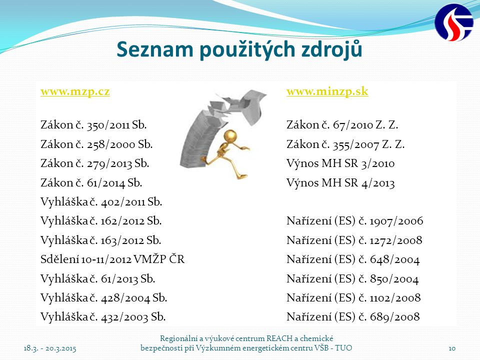 Seznam použitých zdrojů www.mzp.czwww.minzp.sk Zákon č. 350/2011 Sb.Zákon č. 67/2010 Z. Z. Zákon č. 258/2000 Sb.Zákon č. 355/2007 Z. Z. Zákon č. 279/2