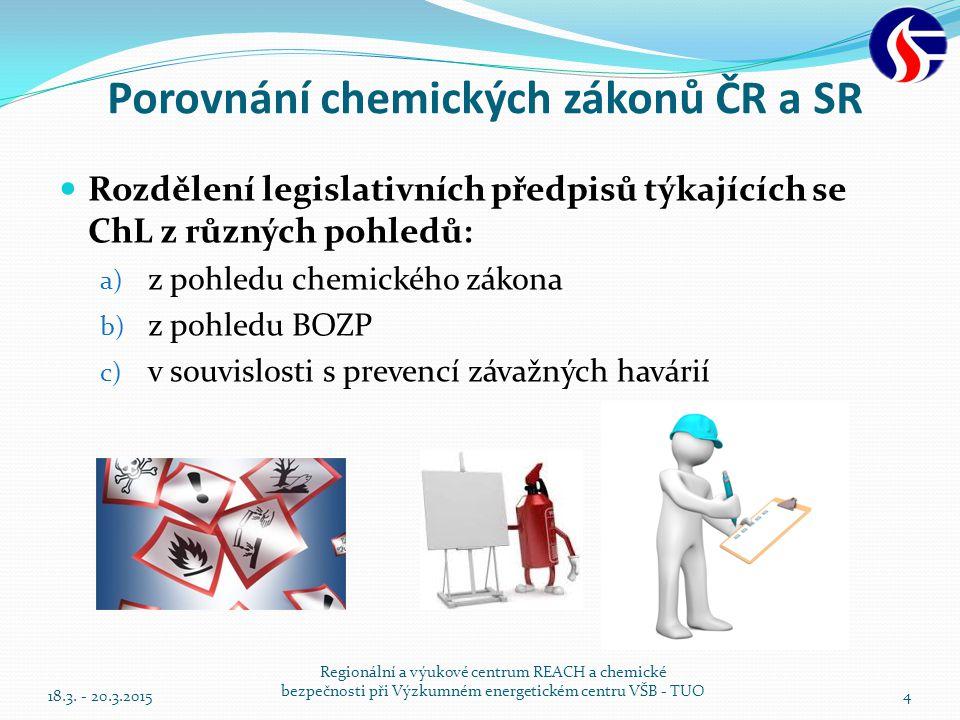 Porovnání chemických zákonů ČR a SR Rozdělení legislativních předpisů týkajících se ChL z různých pohledů: a) z pohledu chemického zákona b) z pohledu