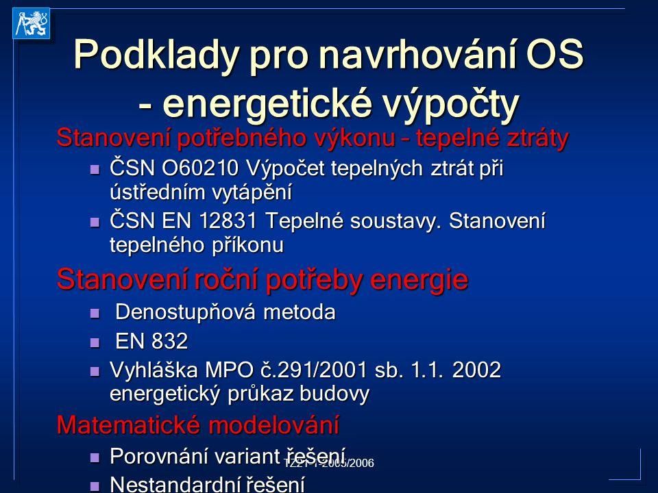 TZ21-1-2005/2006 Podklady pro navrhování OS - energetické výpočty Stanovení potřebného výkonu – tepelné ztráty ČSN O60210 Výpočet tepelných ztrát při ústředním vytápění ČSN O60210 Výpočet tepelných ztrát při ústředním vytápění ČSN EN 12831 Tepelné soustavy.