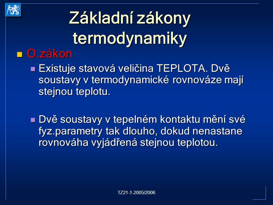 TZ21-1-2005/2006 Základní zákony termodynamiky O.zákon O.zákon Existuje stavová veličina TEPLOTA. Dvě soustavy v termodynamické rovnováze mají stejnou