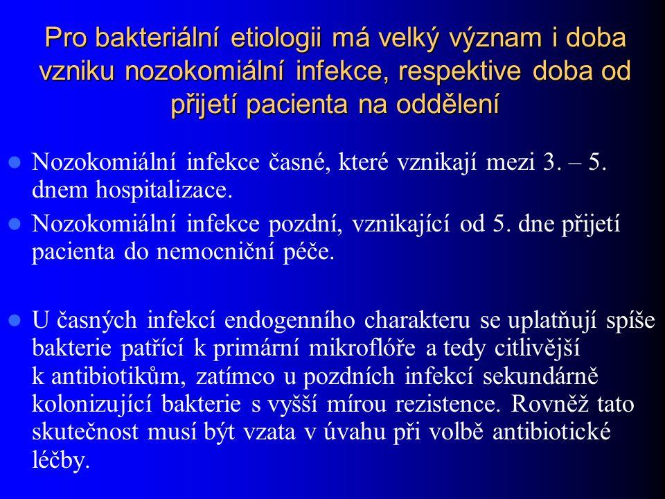 Pro bakteriální etiologii má velký význam i doba vzniku nozokomiální infekce, respektive doba od přijetí pacienta na oddělení Nozokomiální infekce čas