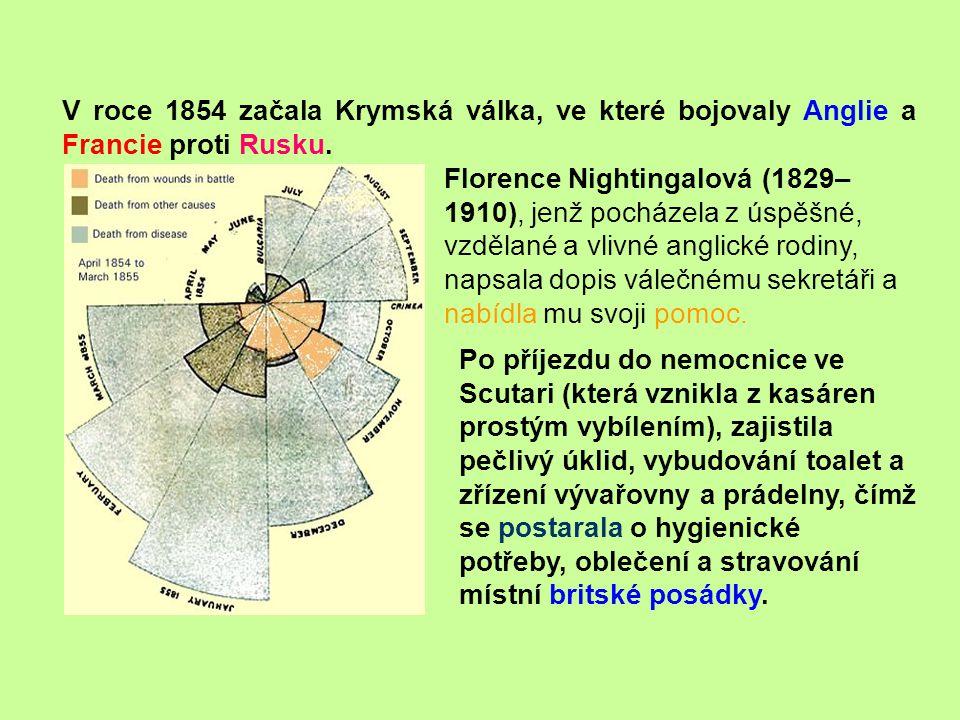 V roce 1854 začala Krymská válka, ve které bojovaly Anglie a Francie proti Rusku. Po příjezdu do nemocnice ve Scutari (která vznikla z kasáren prostým
