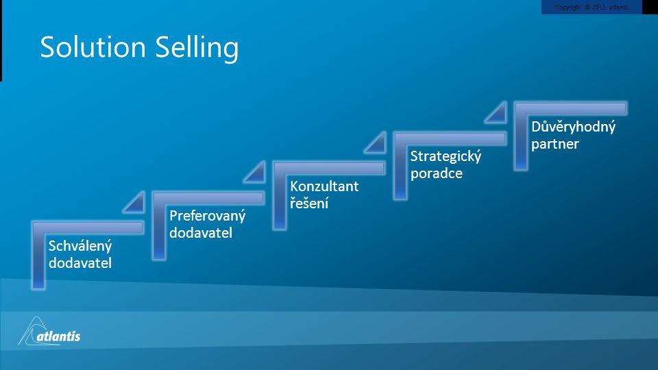 Copyright © 2011, atlantis Solution Selling Schválený dodavatel Preferovaný dodavatel Konzultant řešení Strategický poradce Důvěryhodný partner