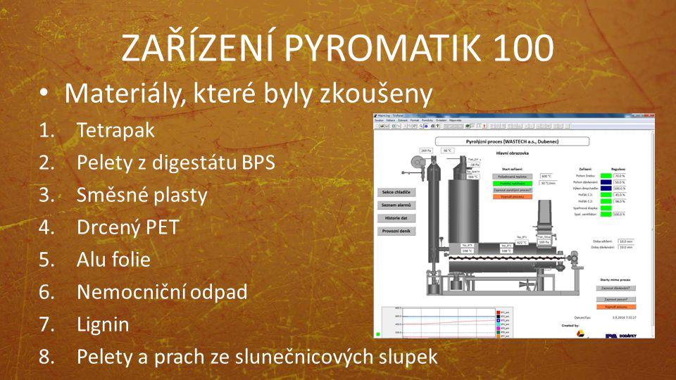 ZAŘÍZENÍ PYROMATIK 100 Materiály, které byly zkoušeny 1.Tetrapak 2.Pelety z digestátu BPS 3.Směsné plasty 4.Drcený PET 5.Alu folie 6.Nemocniční odpad