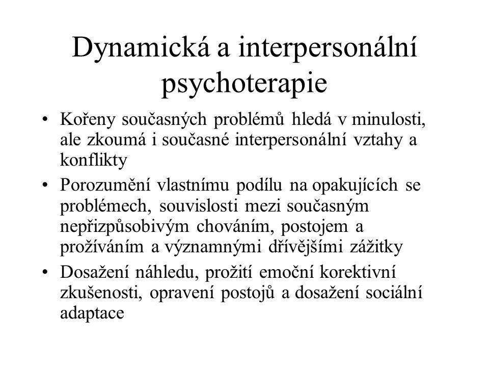 Dynamická a interpersonální psychoterapie Kořeny současných problémů hledá v minulosti, ale zkoumá i současné interpersonální vztahy a konflikty Poroz