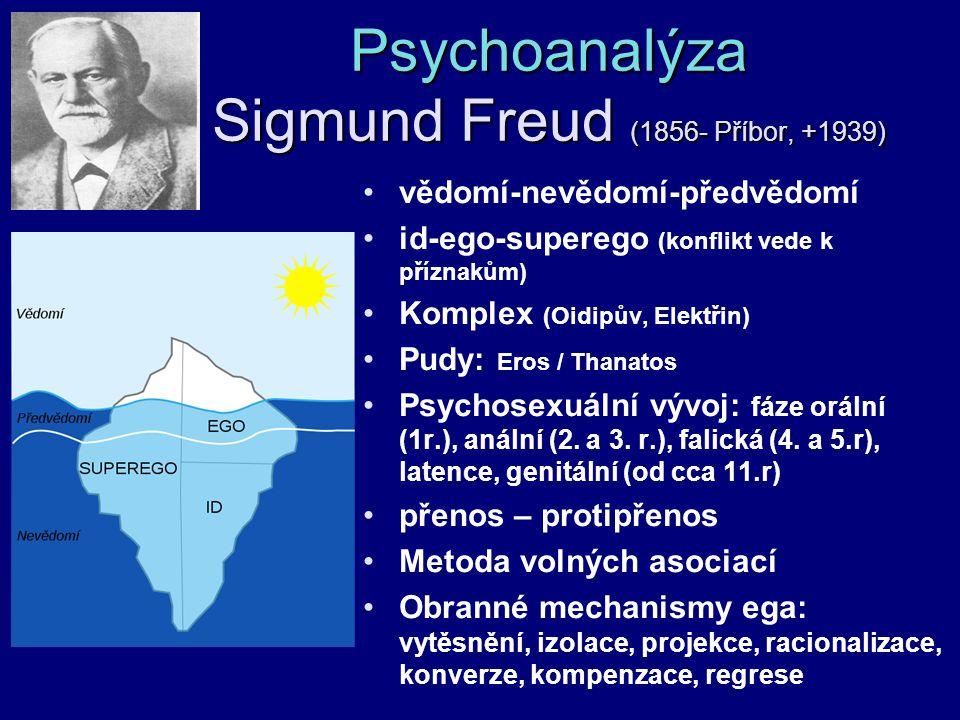 Psychoanalýza Sigmund Freud (1856- Příbor, +1939) vědomí-nevědomí-předvědomí id-ego-superego (konflikt vede k příznakům) Komplex (Oidipův, Elektřin) P