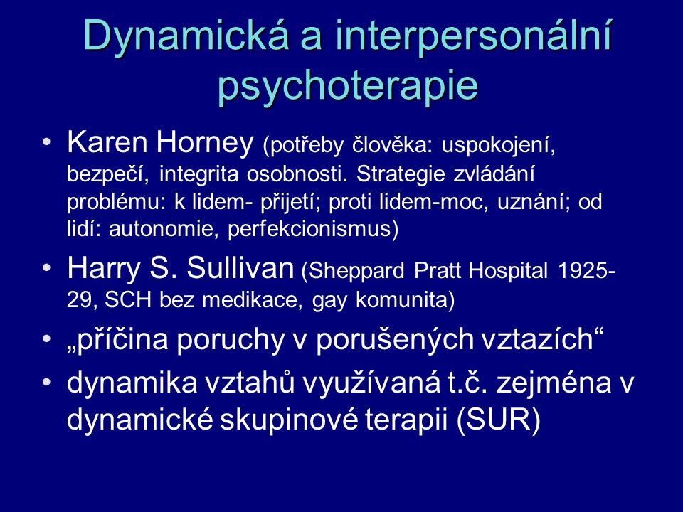 Dynamická a interpersonální psychoterapie Karen Horney (potřeby člověka: uspokojení, bezpečí, integrita osobnosti. Strategie zvládání problému: k lide