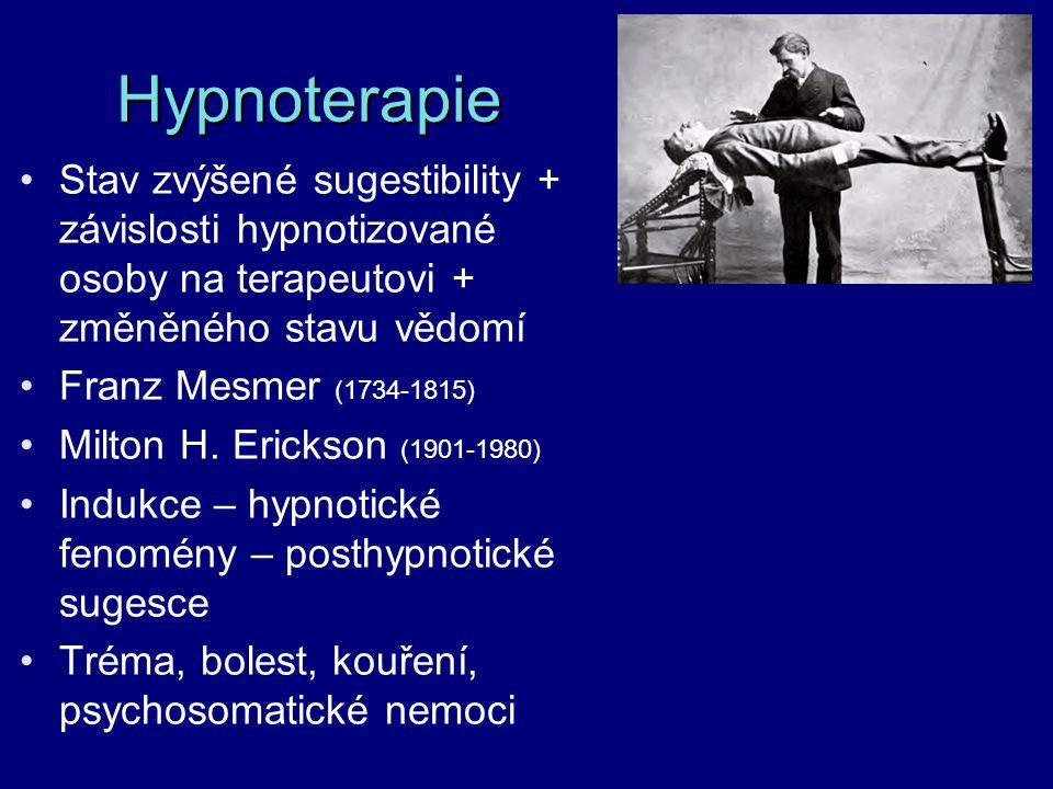Hypnoterapie Stav zvýšené sugestibility + závislosti hypnotizované osoby na terapeutovi + změněného stavu vědomí Franz Mesmer (1734-1815) Milton H. Er