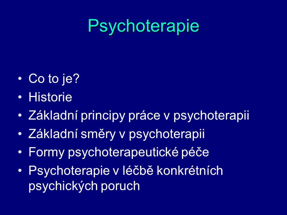 Psychoterapie Co to je? Historie Základní principy práce v psychoterapii Základní směry v psychoterapii Formy psychoterapeutické péče Psychoterapie v