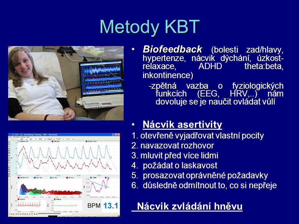 Metody KBT BiofeedbackBiofeedback (bolesti zad/hlavy, hypertenze, nácvik dýchání, úzkost- relaxace, ADHD theta:beta, inkontinence) -zpětná vazba o fyz