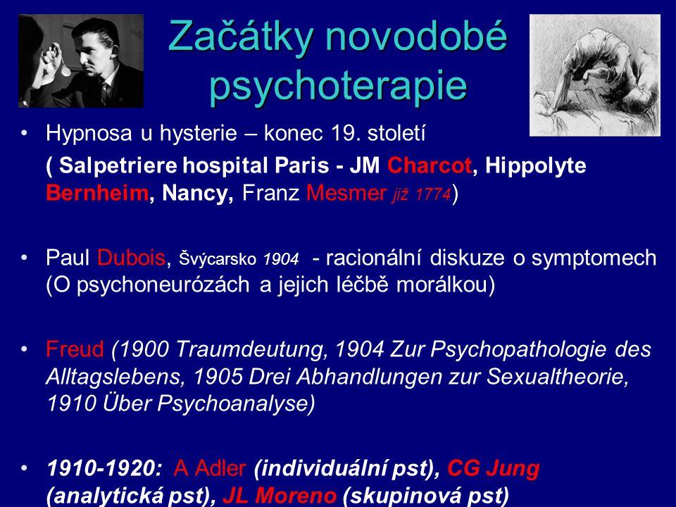 Začátky novodobé psychoterapie Hypnosa u hysterie – konec 19. století ( Salpetriere hospital Paris - JM Charcot, Hippolyte Bernheim, Nancy, Franz Mesm