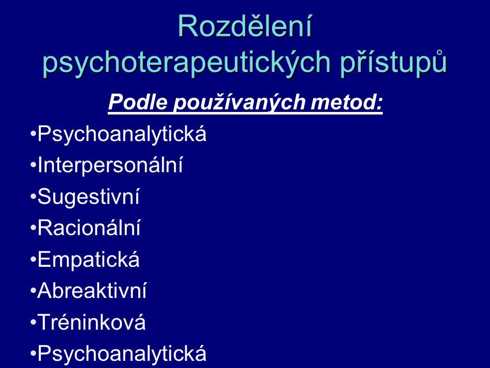 Rozdělení psychoterapeutických přístupů Podle používaných metod: Psychoanalytická Interpersonální Sugestivní Racionální Empatická Abreaktivní Tréninko