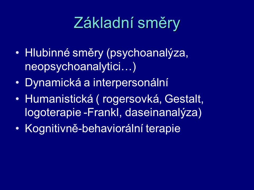 Základní směry Hlubinné směry (psychoanalýza, neopsychoanalytici…) Dynamická a interpersonální Humanistická ( rogersovká, Gestalt, logoterapie -Frankl