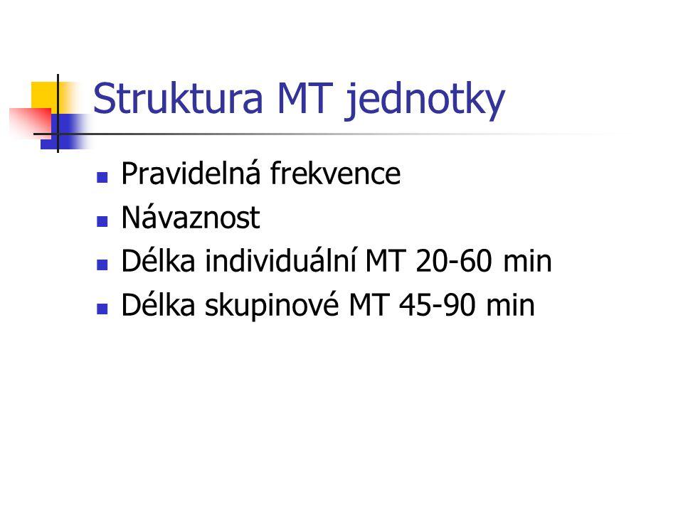 Struktura MT jednotky Pravidelná frekvence Návaznost Délka individuální MT 20-60 min Délka skupinové MT 45-90 min
