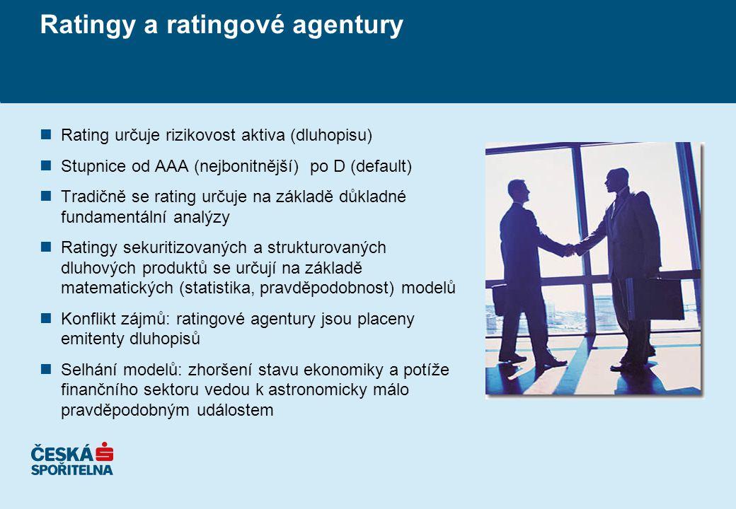 Ratingy a ratingové agentury nRating určuje rizikovost aktiva (dluhopisu) nStupnice od AAA (nejbonitnější) po D (default) nTradičně se rating určuje na základě důkladné fundamentální analýzy nRatingy sekuritizovaných a strukturovaných dluhových produktů se určují na základě matematických (statistika, pravděpodobnost) modelů nKonflikt zájmů: ratingové agentury jsou placeny emitenty dluhopisů nSelhání modelů: zhoršení stavu ekonomiky a potíže finančního sektoru vedou k astronomicky málo pravděpodobným událostem