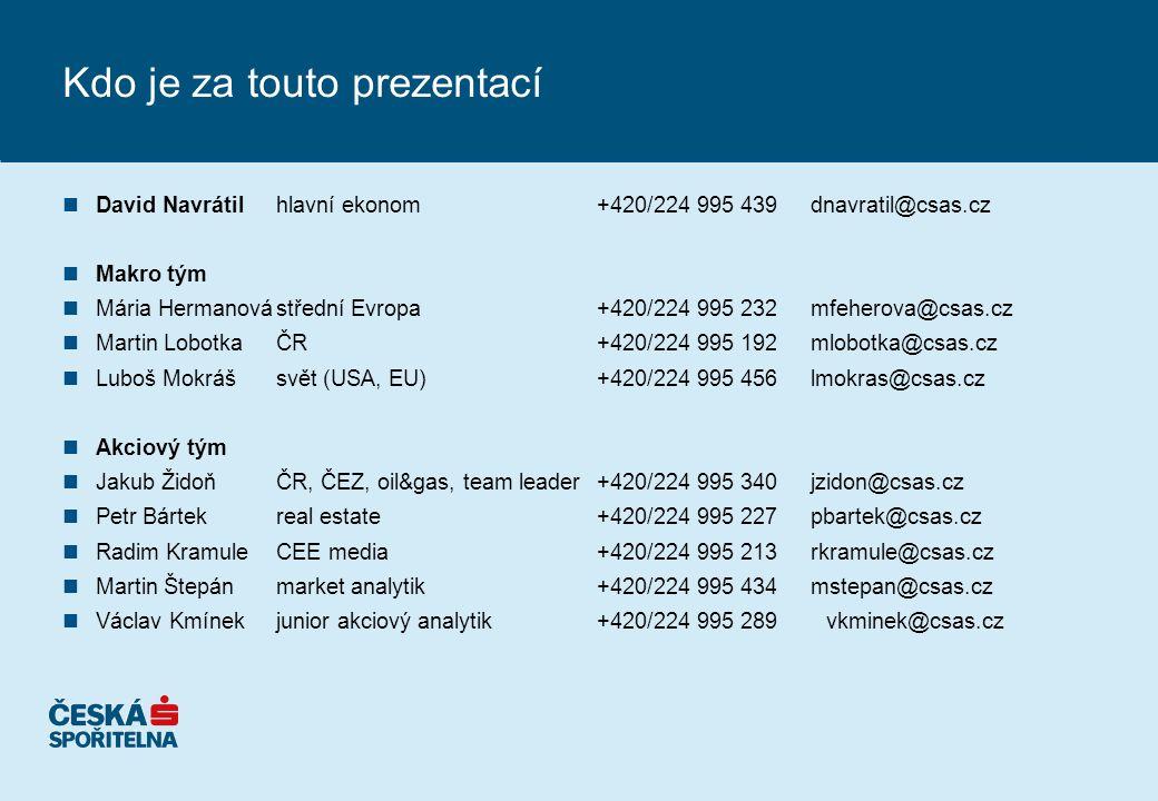 Kdo je za touto prezentací nDavid Navrátil hlavní ekonom+420/224 995 439dnavratil@csas.cz nMakro tým nMária Hermanovástřední Evropa+420/224 995 232mfeherova@csas.cz nMartin LobotkaČR +420/224 995 192mlobotka@csas.cz nLuboš Mokrášsvět (USA, EU)+420/224 995 456lmokras@csas.cz nAkciový tým nJakub ŽidoňČR, ČEZ, oil&gas, team leader+420/224 995 340jzidon@csas.cz nPetr Bártekreal estate+420/224 995 227pbartek@csas.cz nRadim KramuleCEE media +420/224 995 213rkramule@csas.cz nMartin Štepánmarket analytik +420/224 995 434mstepan@csas.cz nVáclav Kmínekjunior akciový analytik+420/224 995 289 vkminek@csas.cz