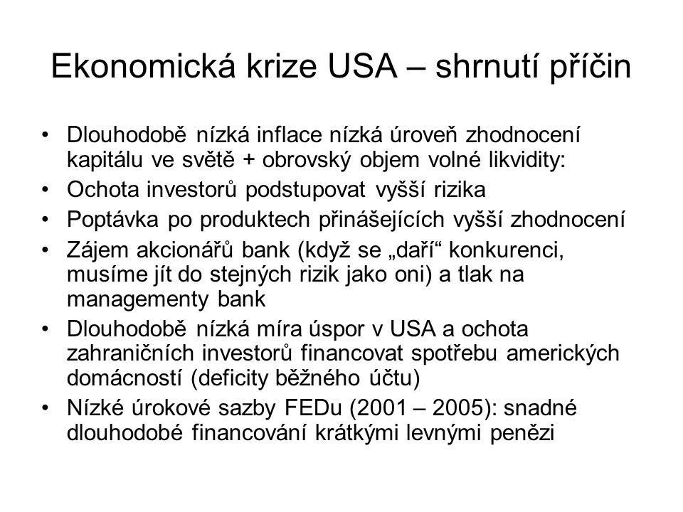 Ekonomická krize USA – shrnutí příčin Dlouhodobě nízká inflace nízká úroveň zhodnocení kapitálu ve světě + obrovský objem volné likvidity: Ochota inve