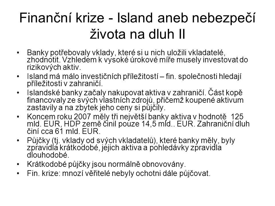 Finanční krize - Island aneb nebezpečí života na dluh II Banky potřebovaly vklady, které si u nich uložili vkladatelé, zhodnotit. Vzhledem k vysoké úr