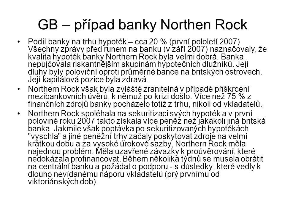 GB – případ banky Northen Rock Podíl banky na trhu hypoték – cca 20 % (první pololetí 2007) Všechny zprávy před runem na banku (v září 2007) naznačova