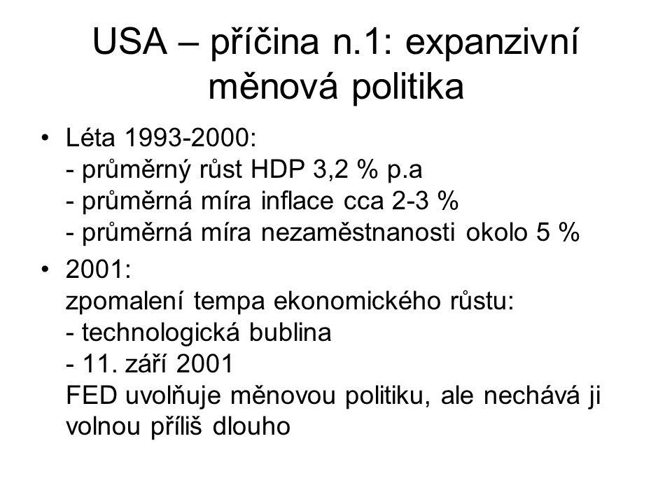 USA – příčina n.1: expanzivní měnová politika Léta 1993-2000: - průměrný růst HDP 3,2 % p.a - průměrná míra inflace cca 2-3 % - průměrná míra nezaměst