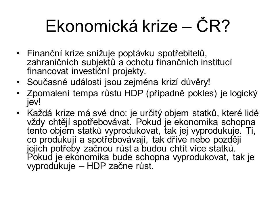 Ekonomická krize – ČR? Finanční krize snižuje poptávku spotřebitelů, zahraničních subjektů a ochotu finančních institucí financovat investiční projekt