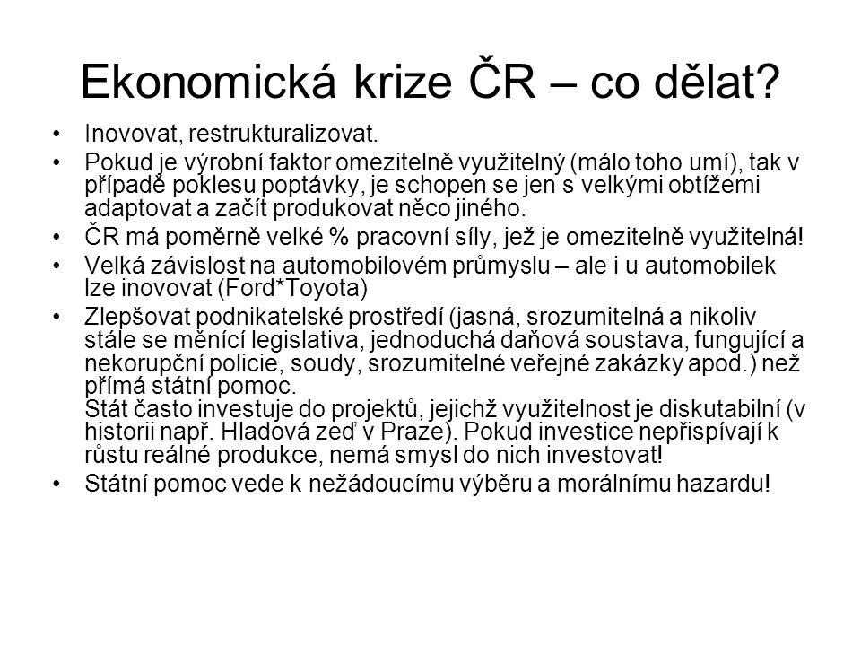 Ekonomická krize ČR – co dělat? Inovovat, restrukturalizovat. Pokud je výrobní faktor omezitelně využitelný (málo toho umí), tak v případě poklesu pop