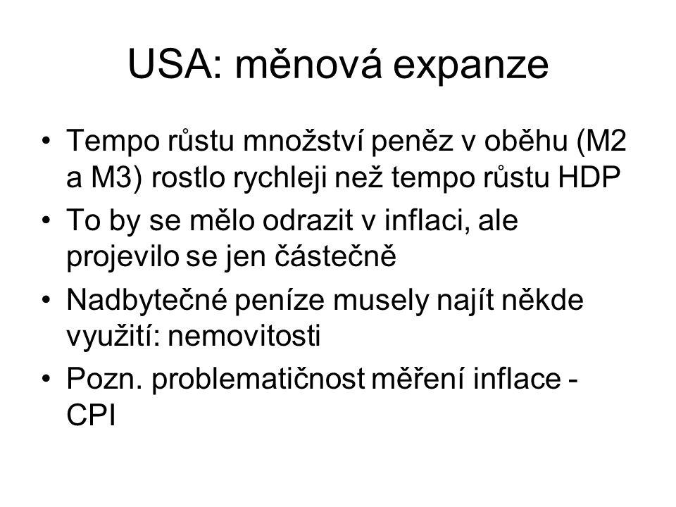 USA: měnová expanze Tempo růstu množství peněz v oběhu (M2 a M3) rostlo rychleji než tempo růstu HDP To by se mělo odrazit v inflaci, ale projevilo se