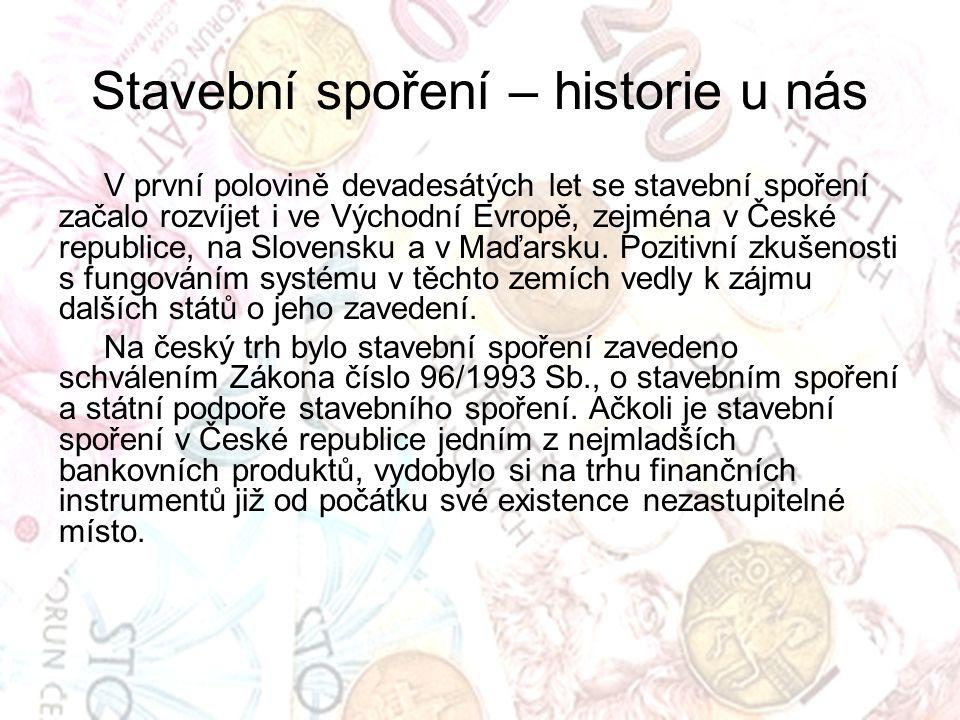 Stavební spoření – historie u nás V první polovině devadesátých let se stavební spoření začalo rozvíjet i ve Východní Evropě, zejména v České republice, na Slovensku a v Maďarsku.