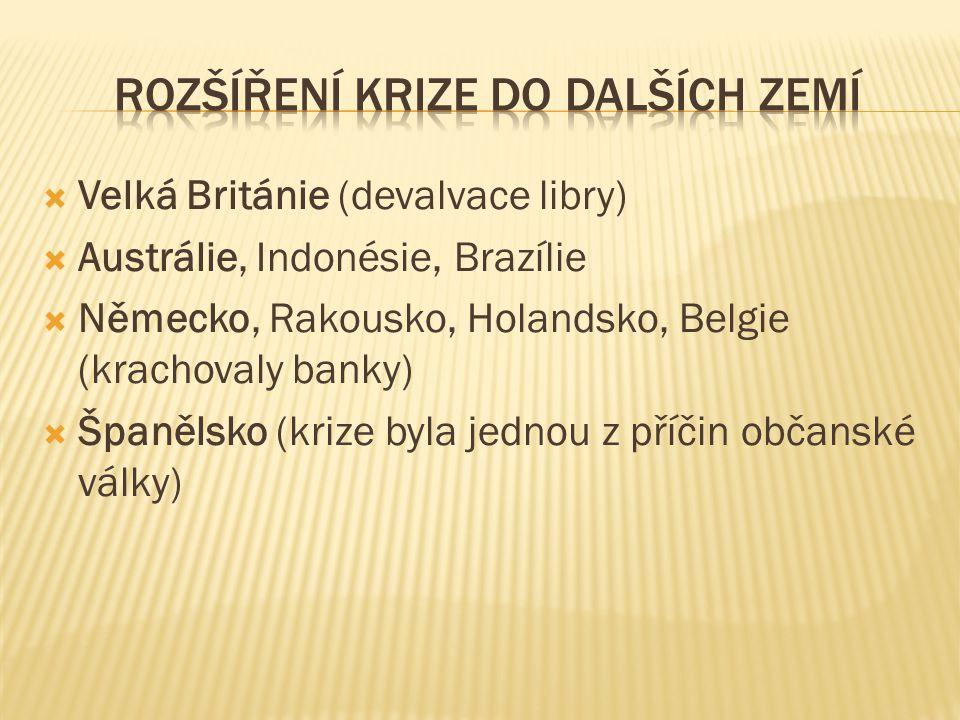  Velká Británie (devalvace libry)  Austrálie, Indonésie, Brazílie  Německo, Rakousko, Holandsko, Belgie (krachovaly banky)  Španělsko (krize byla jednou z příčin občanské války)