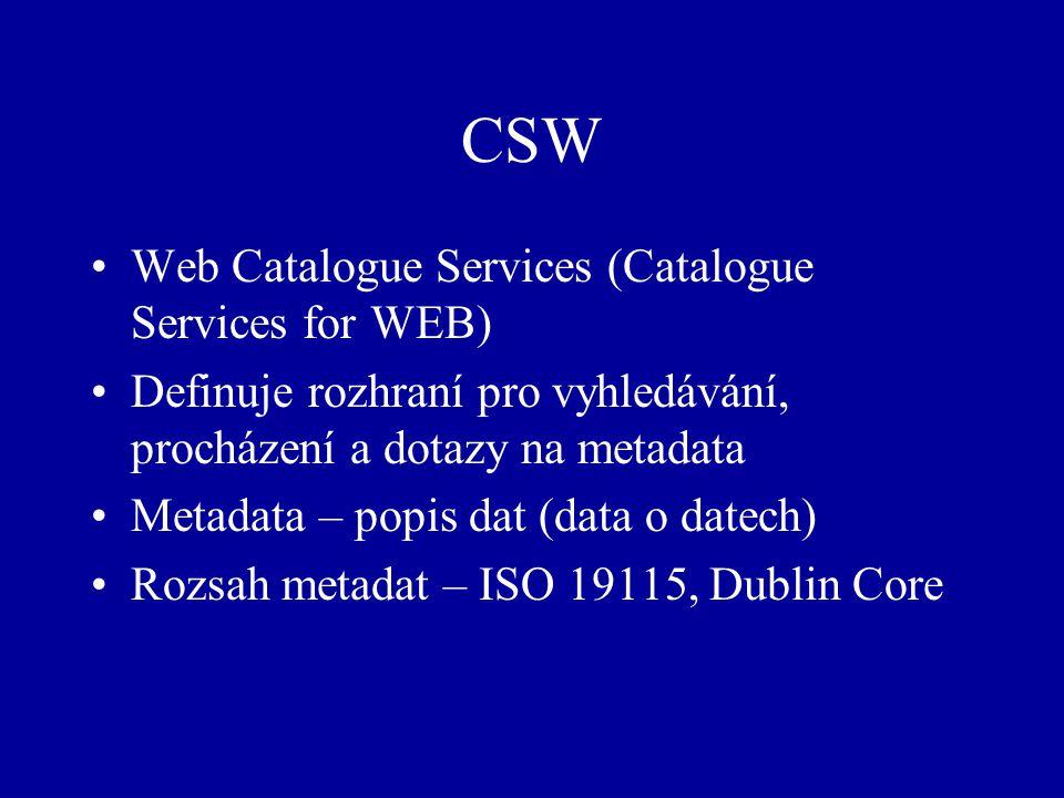 CSW Web Catalogue Services (Catalogue Services for WEB) Definuje rozhraní pro vyhledávání, procházení a dotazy na metadata Metadata – popis dat (data o datech) Rozsah metadat – ISO 19115, Dublin Core