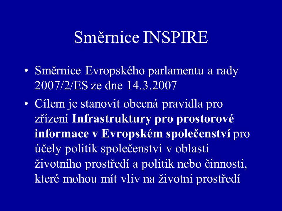 Směrnice INSPIRE Směrnice Evropského parlamentu a rady 2007/2/ES ze dne 14.3.2007 Cílem je stanovit obecná pravidla pro zřízení Infrastruktury pro prostorové informace v Evropském společenství pro účely politik společenství v oblasti životního prostředí a politik nebo činností, které mohou mít vliv na životní prostředí