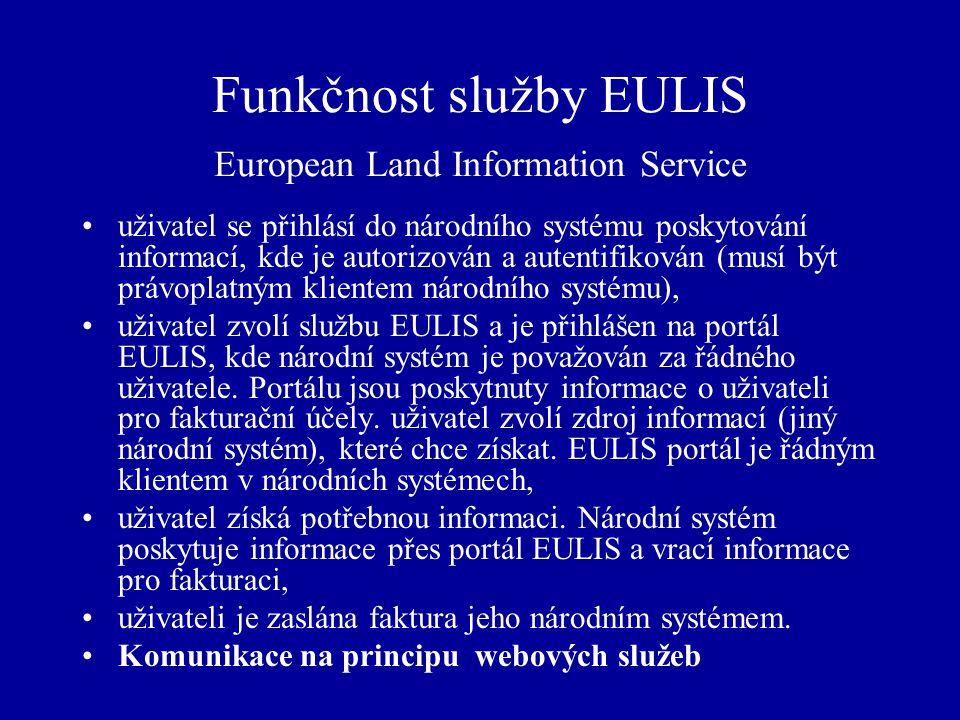 Funkčnost služby EULIS European Land Information Service uživatel se přihlásí do národního systému poskytování informací, kde je autorizován a autentifikován (musí být právoplatným klientem národního systému), uživatel zvolí službu EULIS a je přihlášen na portál EULIS, kde národní systém je považován za řádného uživatele.
