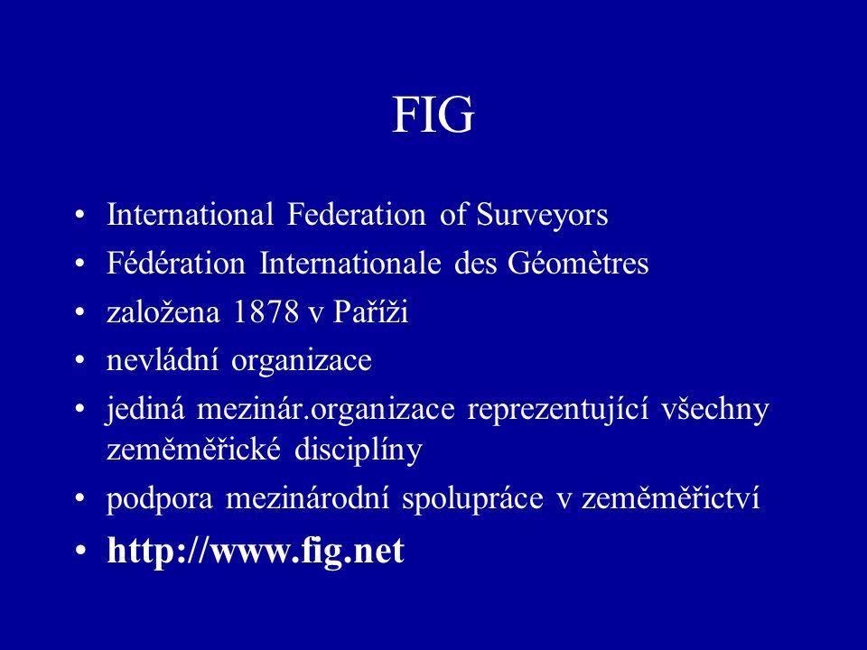 FIG International Federation of Surveyors Fédération Internationale des Géomètres založena 1878 v Paříži nevládní organizace jediná mezinár.organizace reprezentující všechny zeměměřické disciplíny podpora mezinárodní spolupráce v zeměměřictví http://www.fig.net